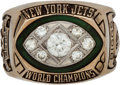 Football Collectibles:Others, 1968-69 New York Jets Super Bowl III Championship Ring Presented to Defensive End Verlon Biggs....