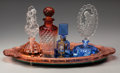 Art Glass:Other , Four Czechoslovakian Glass Perfume Bottles with Mirrored Tray,early 20th century. 8 inches (tallest bottle) x 17-1/2 inches...(Total: 5 Items)