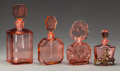 Art Glass:Other , Four Czechoslovakian Pink Glass Perfume Bottles, early 20thcentury. 8-1/4 inches high (21.0 cm) (tallest). PROPERTY FROM ...(Total: 4 Items)