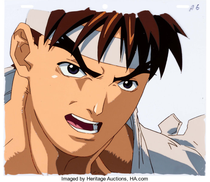 Street Fighter Zero Ryu Anime Production Cel And Matching
