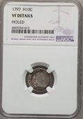Early Half Dimes: , 1797 H10C -- Holed -- NGC Details. VF. NGC Census: (7/100). PCGSPopulation (17/128). Mintage: 44,527. Numismedia Wsl. Pric...