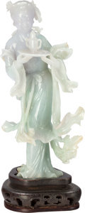 Asian:Chinese, A Chinese Carved Lavender and Green Jadeite Female Figure withStand, 20th century. 6-1/2 inches high (16.5 cm) (excluding b...