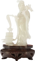 Asian:Chinese, A Chinese Carved Jade Shoulao Figure with Stand, 20th century.3-3/4 inches high (9.5 cm) (excluding base). PROPERTY FROM ...