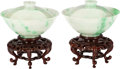 Asian:Chinese, A Pair of Chinese Qing Dynasty Carved Jadeite Lidded Bowls withStands, 19th century. 2-3/4 inches high x 4-1/2 inches diame...(Total: 2 Items)