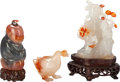 Asian:Chinese, Three Chinese Hardstone Carvings . 3 inches high (7.6 cm) (girlwith lingzhi fungus without stand). PROPERTY FROM THE COLL...(Total: 3 Items)