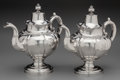 Silver Holloware, American:Coin Silver, A Gale, Wood & Hughes Coin Silver Coffee Pot and Hayden &Gregg Coin Silver Teapot, circa 1845. Marks to teapot: (bust),(ea... (Total: 2 Items)