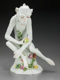 Ceramics & Porcelain, Continental:Modern  (1900 1949)  , A Dresden Porcelain Monkey, 20th century. Marks: SP,Dresden. 16 inches high (40.6 cm). PROPERTY FROM THE COLLECTIONO...