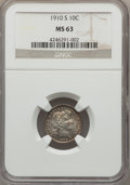 Barber Dimes: , 1910-S 10C MS63 NGC. NGC Census: (9/24). PCGS Population (20/50). Mintage: 1,240,000. Numismedia Wsl. Price for problem fre...