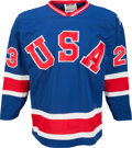 Hockey Collectibles:Uniforms, 1980 Dave Christian Gold Medal Game Worn USA Olympic Hockey TeamJersey....