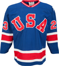 1980 Dave Christian Gold Medal Game Worn USA Olympic Hockey Team Jersey
