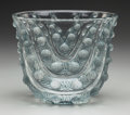 Art Glass:Lalique, An R. Lalique Clear and Frosted Glass Vichy Vase with BluePatina, circa 1937. Marks: R. LALIQUE FRANCE. 6-3...
