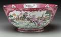 Asian:China Trade, A Chinese Export Porcelain Bowl with Hunting Scenes. 6-1/2 incheshigh x 14 inches diameter (16.5 x 35.6 cm). PROPERTY FRO...
