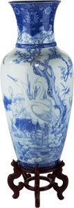 Asian:Japanese, A Monumental Japanese Blue and White Porcelain Vase . 42 incheshigh (106.7 cm) (excluding stand). ... (Total: 2 Items)