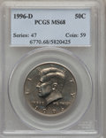 Kennedy Half Dollars, 1996-D 50C MS68 PCGS. PCGS Population (20/0). NGC Census: (5/0).Numismedia Wsl. Price for problem free NGC/PCGS coin in M...