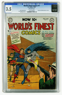 World's Finest Comics #71 (DC, 1954) CGC VG- 3.5 Off-white pages. Superman and Batman begin as a team. Win Mortimer cove...