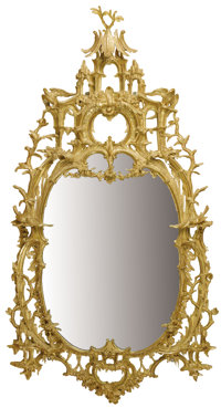 A MONUMENTAL ENGLISH CHIPPENDALE-STYLE CARVED GILT WOOD MIRROR London, England, 19th Century 94 x 51-3/8 inche