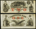 Obsoletes By State:New Hampshire, Farmington, NH-Farmington Bank $1 18__ and $2 18_- Remainders. ... (Total: 2 notes)