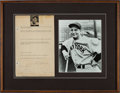 Autographs:Baseballs, 1930's Lou Gehrig Signed, Handwritten Questionnaire to a Fan....