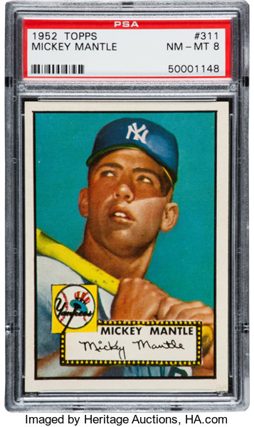 1952 Topps Mickey Mantle 311 Psa Nm Mt 8 Baseball Cards