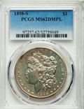 Morgan Dollars: , 1898-S $1 MS62 Deep Mirror Prooflike PCGS. PCGS Population (10/74). NGC Census: (7/31). Numismedia Wsl. Price for problem ...
