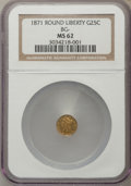 California Fractional Gold , 1871 25C Liberty Round 25 Cents, BG-838, R.2, MS62 NGC. NGC Census:(35/21). PCGS Population (148/81). ...