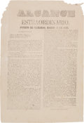 Miscellaneous:Ephemera, [Maximilian Affair]. Broadside Extra Announcing Colonel GerónimoTreviño's Troops' Victory Over the French. ...