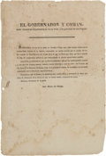 "Miscellaneous:Broadside, Jose Maria de Ortega Printed Decree with Heading: ""El GobernadorY Comandante General del Departamento de Nuevo Leon,..."