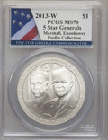 Modern Commemoratives, 2013-W $1 Five-Star Generals Silver Dollar, Marshall and Eisenhower, Profile Collection MS70 PCGS. PCGS Population (91). NG...