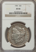 Morgan Dollars: , 1901 $1 XF45 NGC. NGC Census: (357/4007). PCGS Population (485/4112). Mintage: 6,962,813. Numismedia Wsl. Price for problem...