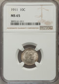 Barber Dimes: , 1911 10C MS65 NGC. NGC Census: (130/59). PCGS Population (148/105).Mintage: 18,870,544. Numismedia Wsl. Price for problem ...