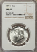 Kennedy Half Dollars, 1964 50C MS66 NGC. NGC Census: (842/44). PCGS Population (1207/41).Mintage: 273,300,000. Numismedia Wsl. Price for problem...