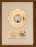 "Music Memorabilia:Awards, 1910 Fruitgum Company ""1, 2, 3, Red Light"" RIAA White Matte GoldRecord Award (Buddah BDA 54, 1968)...."