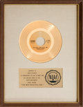 "Music Memorabilia:Awards, Charlie Rich ""The Most Beautiful Girl"" RIAA White Matte Gold RecordAward (Epic 5-11040, 1973)...."