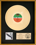 Music Memorabilia:Awards, Led Zeppelin RIAA Gold Record Award (Atlantic 8216,1969)....