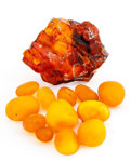 Amber, Amber. Baltic Coast, Poland and Colti-Buzau District,Romania. 1.56 x 1.32 x 0.58 inches (3.95 x 3.36 x 1.47cm). ... (Total: 2 Items)