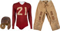 Football Collectibles:Uniforms, 1929-31 New York Giants Game Worn Complete Uniform Attributed to Benny Friedman - Once on Display in Giants Legacy Club!...
