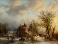Paintings, Barend Cornelis Koekkoek (Dutch, 1803-1862). Winter landscape with wood gatherers and skaters, 1854. Oil on canvas. 20 x...