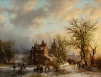Barend Cornelis Koekkoek (Dutch, 1803-1862) Winter landscape with wood gatherers and skaters, 1854 O