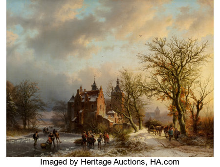 Barend Cornelis Koekkoek (Dutch, 1803-1862) Winter landscape with wood gatherers and skaters, 1854 Oil on canvas 20 x...
