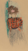 Fine Art - Work on Paper:Drawing, Édouard Vuillard (French, 1868-1940). Young woman in a plaidblouse, circa 1894-95. Pastel on paper. 13-1/2 x 6-3/4 inch...