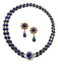 Estate Jewelry:Suites, Lapis Lazuli, Diamond, Gold Jewelry Suite. ... (Total: 3 Items)