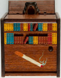 Books:Furniture & Accessories, Book Themed Musical Cigarette Dispenser with Mechanical Dog. Signed MLM Japan, [n.d., Circa 1930].. ...