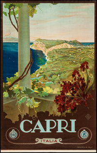 """Capri, Italian Travel Poster by Mario Borgoni (ENIT, Late 1920s-Early 1930s). Travel Poster (25.75"""" X 40.5"""")..."""