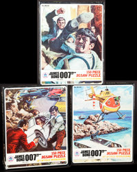 """The Spy Who Loved Me Jigsaw Puzzles (HG Toys, 1977). 150 Piece Jigsaw Puzzles (3) (8"""" X 10.5"""" X 1.5"""") No..."""