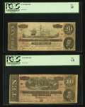Confederate Notes:1864 Issues, T67 $20 1864 PF-11 Cr. 511. T68 $10 1864 PF-27 Cr. 548.. ... (Total: 2 notes)