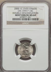 2000 1C Lincoln Cent -- Over Struck on a 1999-P 10C, Double Denomination -- MS64 NGC