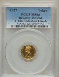 U.S. Presidents & Statesmen, 1927 Abraham Lincoln Gold Token MS66 PCGS. King-1043, DeLorey-48,Cunningham-10-350X. Gold, 15 mm....