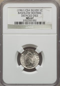 """Three-Piece Lot of (1961) Bashlow Restrike, Defaced Dies """"1861"""" Confederate Cents. The lot includes: Silver MS..."""