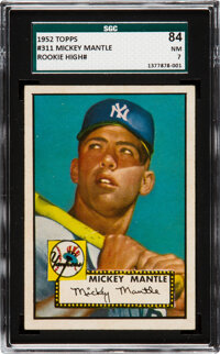 1952 Topps Mickey Mantle #311 SGC 84 NM 7