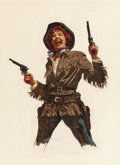 Pulp, Pulp-like, Digests, and Paperback Art, William George (American, b. 1930). Calamity Jane, Argosymagazine interior illustration, 1958. Gouache on board. 19.5x...